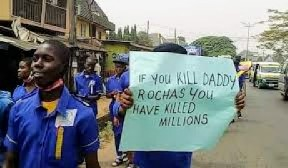 """If You Kill Daddy Rochas, You Have Killed Millions""— Students Lament As They Protest In Owerri."