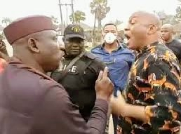 "You Are 53-year-old, I am 56-year-old"" Drama As Gov Uzodinma's aide Hits Okorocha at Police Station"